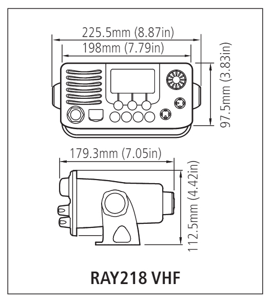 Ray218 Dimensions