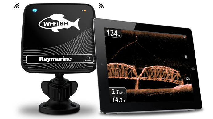 raymarine wi fish with transom mount transducer wi fi