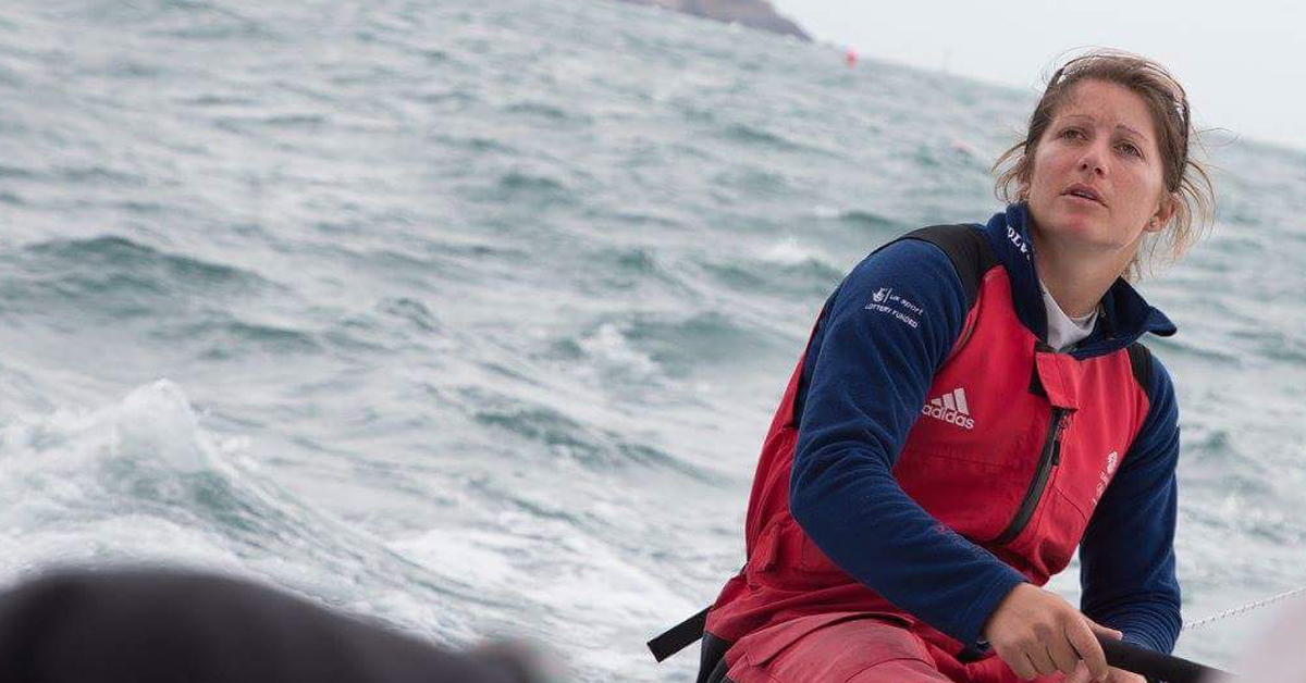 Raymarine Ambassador Boat R&W with Olympian Lucy Macgregor on board hoping for success in the 47th Rolex Fastnet Race