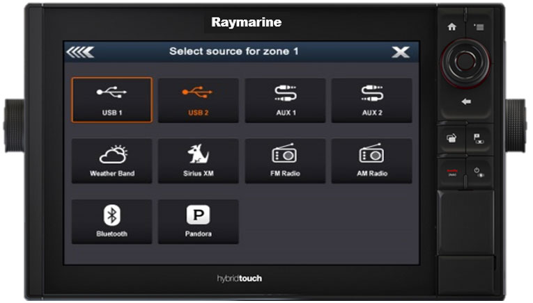 Various audio inputs per zone | Raymarine by FLIR