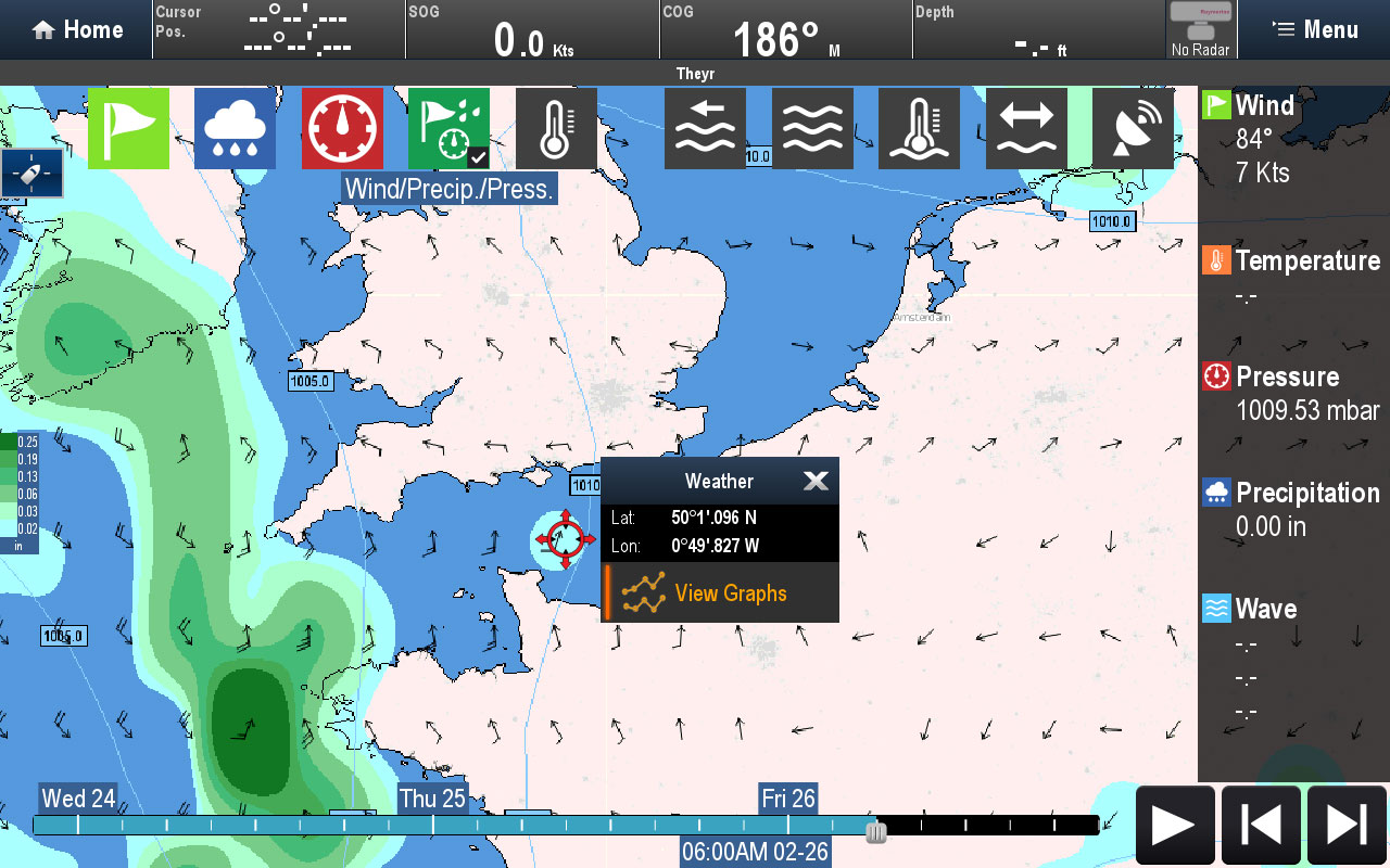 Cursor Point Weather Data | Raymarine by FLIR